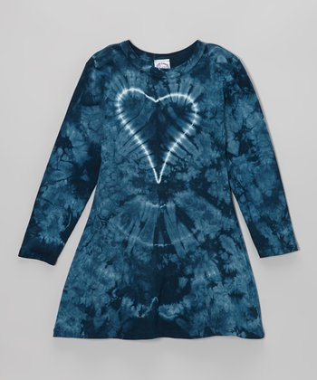 Blue Groovy Denim Heart Tie-Dye Long-Sleeve Dress - Toddler & Girls