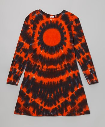 Orange Halloween Burst Tie-Dye Long-Sleeve Dress - Girls