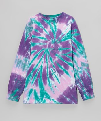 Purple Eagle Swirl Tie-Dye Long-Sleeve Tee - Toddler & Kids
