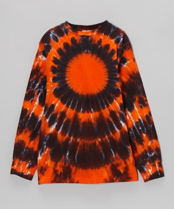 Orange Halloween Burst Tie-Dye Long-Sleeve Tee - Toddler & Kids