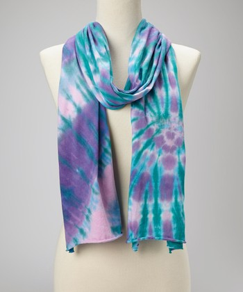 Purple Eagle Swirl Tie-Dye Scarf