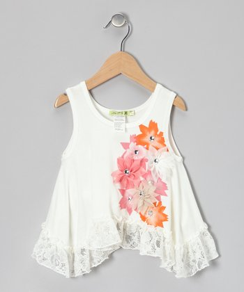 Ivory Bloom Time Ruffle Tunic - Toddler & Girls
