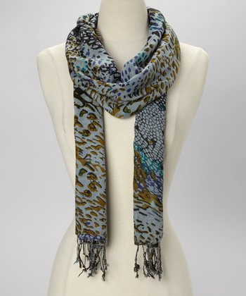 Blue Chaotic Abstract Scarf