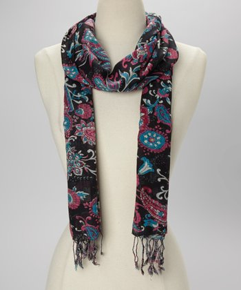 Black & Purple Paisley Scarf