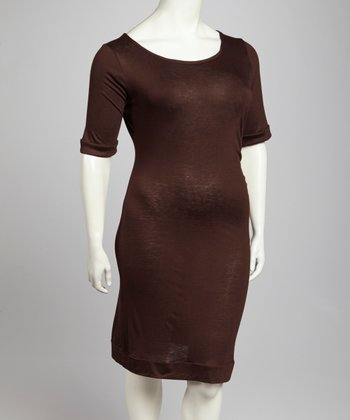 Brown Scoop Neck Dress - Plus