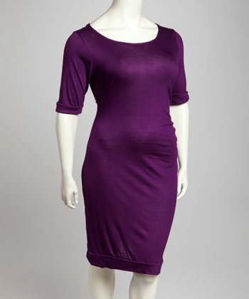 Purple Scoop Neck Dress - Plus