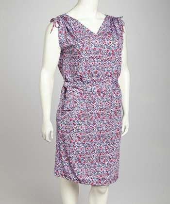 Purple & White Shoulder Tie Sleeveless Dress - Plus