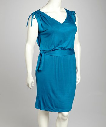 Teal Shoulder Tie Sleeveless Dress - Plus