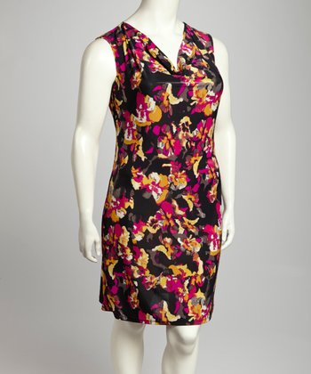 Pink & Black Floral Drape Neck Sleeveless Dress - Plus