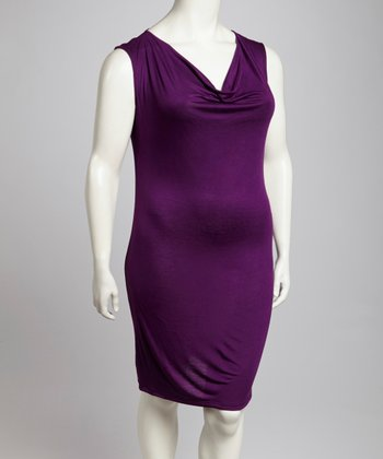 Purple Drape Neck Sleeveless Dress - Plus