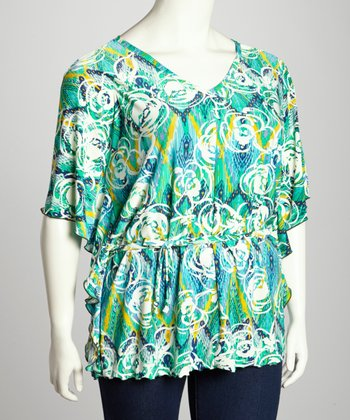 Green Abstract Dolman Top - Plus