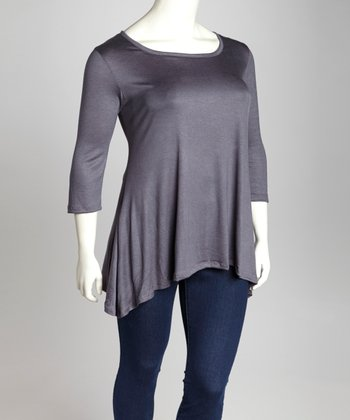 Gray Scoop Neck Sidetail Tunic - Plus