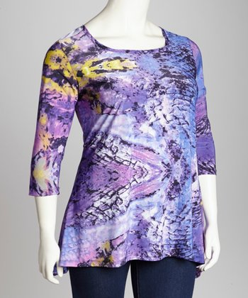 Purple Abstract Scoop Neck Tunic - Plus