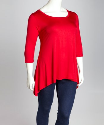 Red Sidetail Tunic - Plus