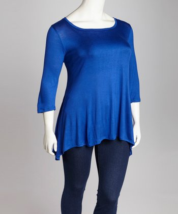 Royal Blue Sidetail Tunic - Plus