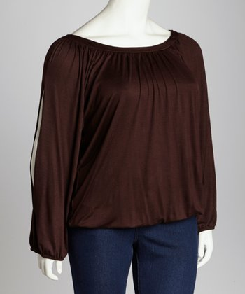 Brown Split Sleeve Top - Plus