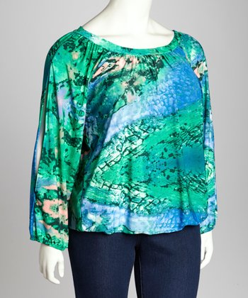 Blue & Green Abstract Split Sleeve Top - Plus