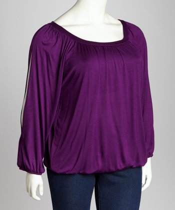 Purple Split Sleeve Top - Plus