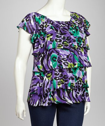 Purple Leopard Tiered Top - Plus