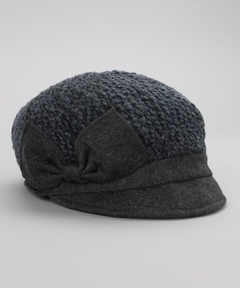 Blue Bow Newsboy Cap