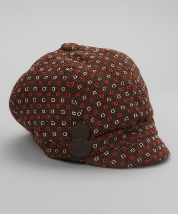 Brown & Red Square Dot Newsboy Cap