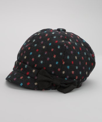 Navy & Red Square Dot Wool-Blend Newsboy Cap