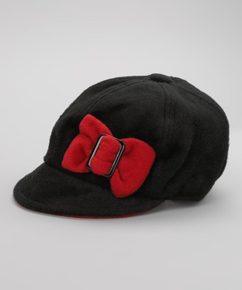 Black & Red Bow Buckle Newsboy Cap
