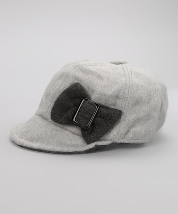 Gray & Dark Gray Bow Buckle Newsboy Cap