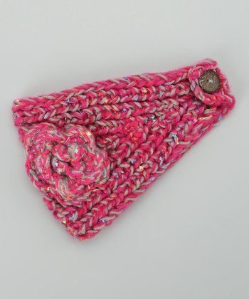 Pink & Gray Flower Knit Head Wrap