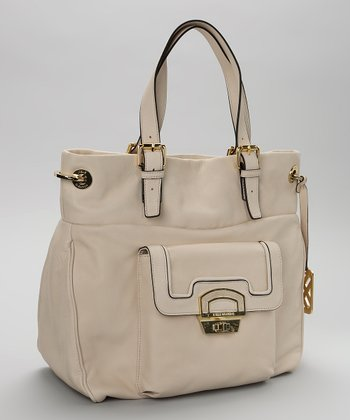 Stone & Gold Leather Satchel
