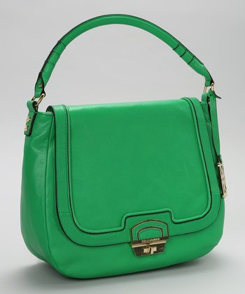 Kelly Green Flap Leather Shoulder Bag