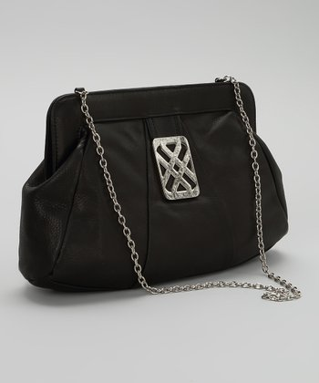 Black & Silver Leather Clutch