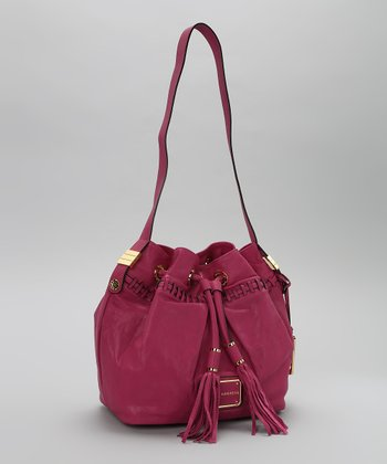 Magenta Leather Bucket Bag