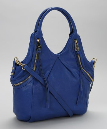 Royal Blue Tassel Leather Shoulder Bag