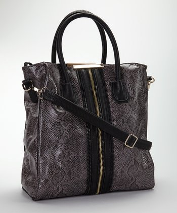 Black Snake Vegan Leather Tote