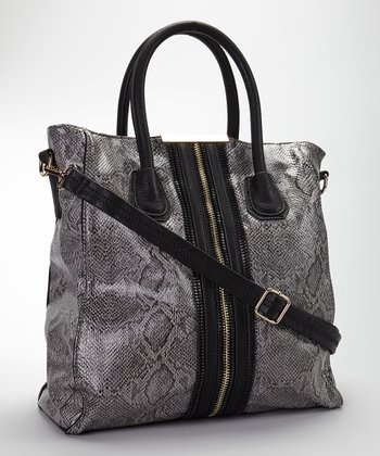 Gray Snake Vegan Leather Tote