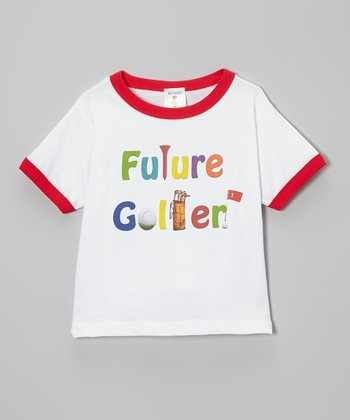 White & Red 'Future Golfer' Ringer Tee - Toddler & Boys
