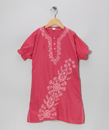 Fuchsia & White Hand-Embroidered Dress - Infant, Toddler & Girls
