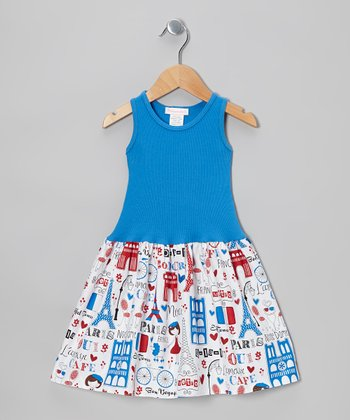 Blue Bon Voyage Dress - Toddler