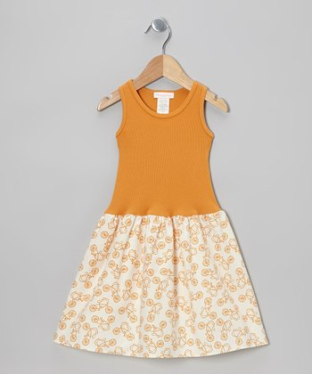 Orange Retro Bike Dress - Girls