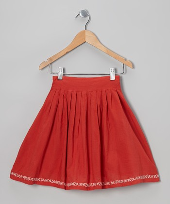 Red Hand-Embroidered Skirt - Infant, Toddler & Girls