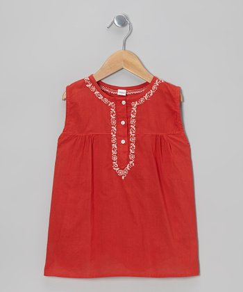 Red Hand-Embroidered Swing Top - Infant, Toddler & Girls