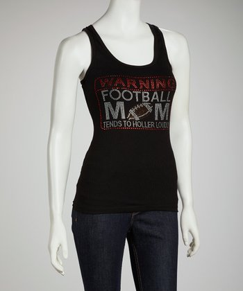 Black 'Warning Football Mom' Racerback Tank - Women & Plus
