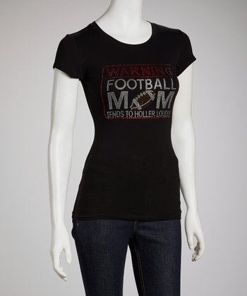 Black 'Warning Football Mom' Short-Sleeve Tee - Women & Plus