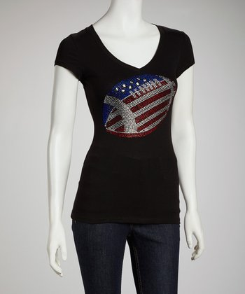 Black American Football V-Neck Tee - Women & Plus