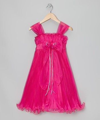 Fuchsia Bow Pleated Babydoll Dress - Toddler & Girls