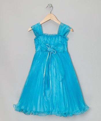 Turquoise Bow Pleated Babydoll Dress - Toddler & Girls