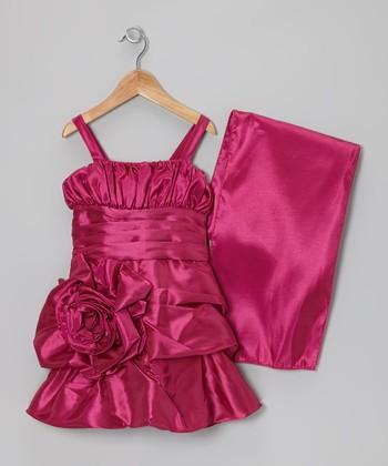 Cinderella Couture Fuchsia Rosette Satin Dress & Shawl - Toddler & Girls