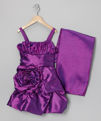 Purple Rosette Satin Dress & Shawl - Toddler & Girls