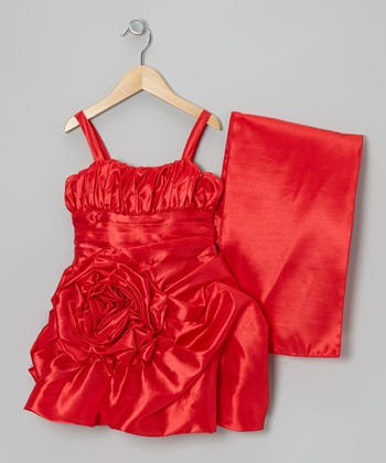 Red Rosette Satin Dress & Shawl - Toddler & Girls
